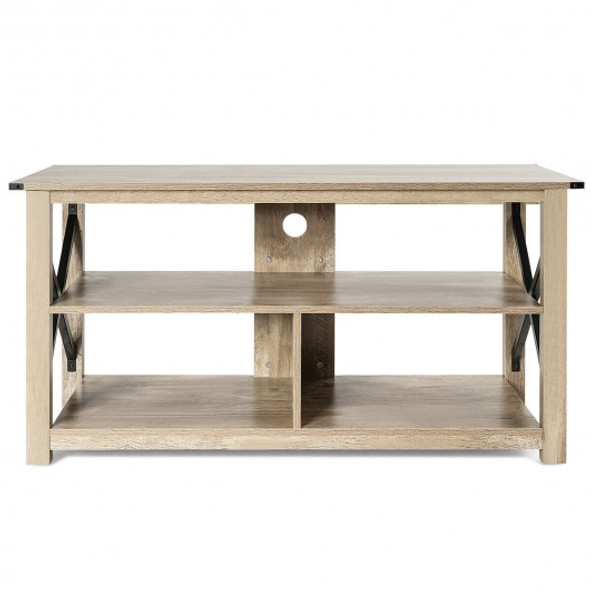 """Modern Farmhouse TV Stand Entertainment Center for TV's up to 55"""" with Open Shelves"""