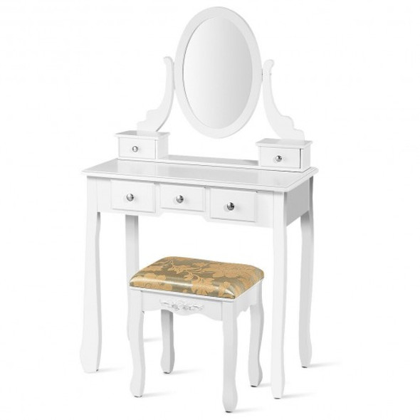 Vanity Make Up Table Set Dressing Table Set with 5 Drawers-White