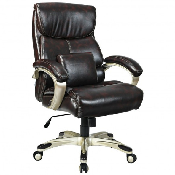 Adjustable Executive Office Recliner Chair with High Back and Lumbar Support-Brown