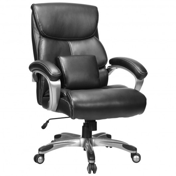 Adjustable Executive Office Recliner Chair with High Back and Lumbar Support-Black
