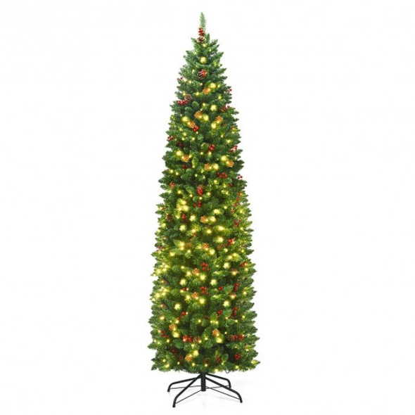 7.5Ft Pre-lit Hinged Pencil Christmas Tree with Pine Cones Red Berries