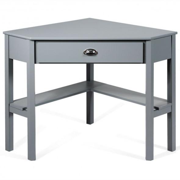 Corner Wooden PC Laptop Computer Desk-Gray