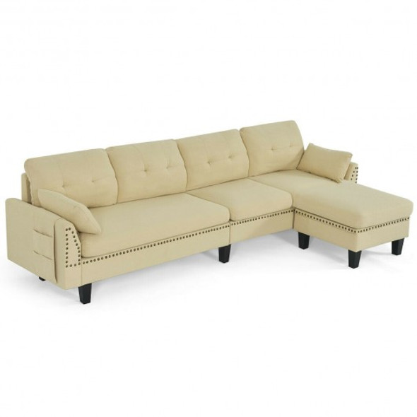 Convertible 4-Seat L-Shaped Sectional Sofa Couch with Storage Ottoman-Beige