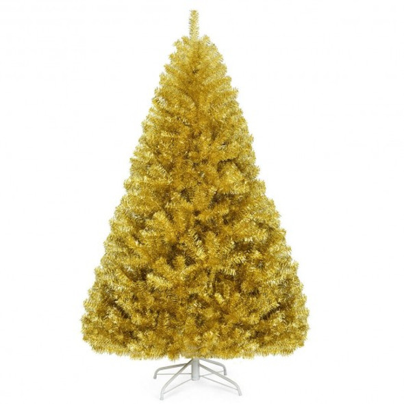 6'/7.5' Artificial Tinsel Christmas Tree Hinged with Foldable Stand-6 ft