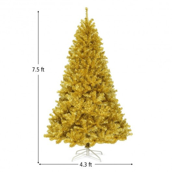 6'/7.5' Artificial Tinsel Christmas Tree Hinged with Foldable Stand-7'