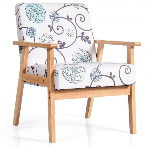 Modern Accent Armchair Fabric Lounge Chair with Rubber Wood Leg-White
