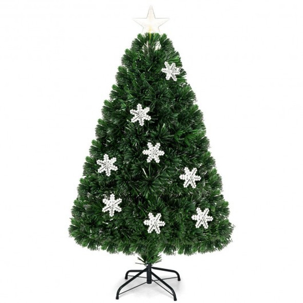 4' LED Optic Artificial Christmas Tree with Snowflakes