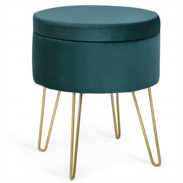 Round Velvet Storage Ottoman Footrest Stool Vanity Chair with Metal Legs-Dark Green