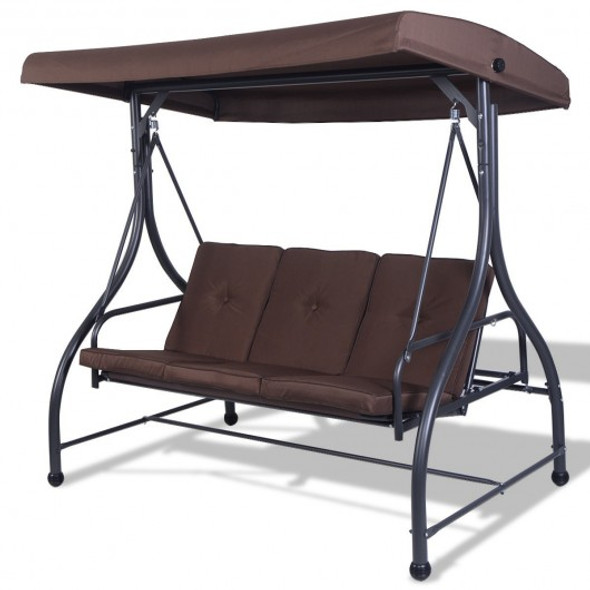 3 Seats Swing Chair Bench Hanging Cushioned Furniture Outdoor Patio Garden 3 color-Brown