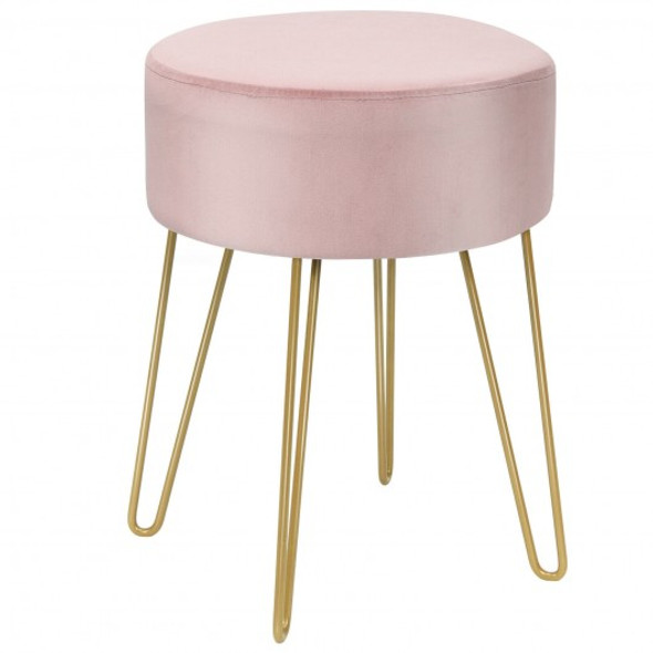 Round Velvet Ottoman Footrest Stool Side Table Dressing Chair with Metal Legs-Pink