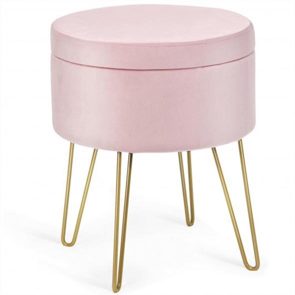Round Velvet Storage Ottoman Footrest Stool Vanity Chair with Metal Legs-Pink