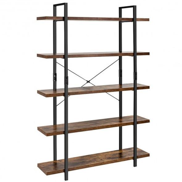 5-Tier Industrial Bookshelf Bookcase Open Storage Shelf Display Rack-Brown