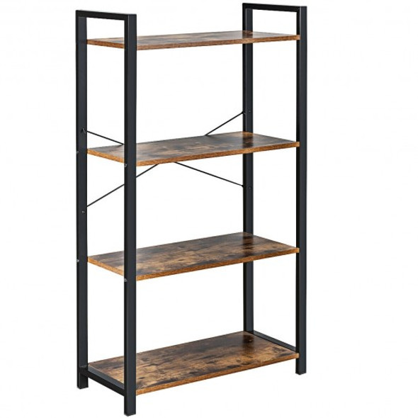 4-Tier Rustic Bookshelf Industrial Bookcase Diaplay Shelf Storage Rack -Brown