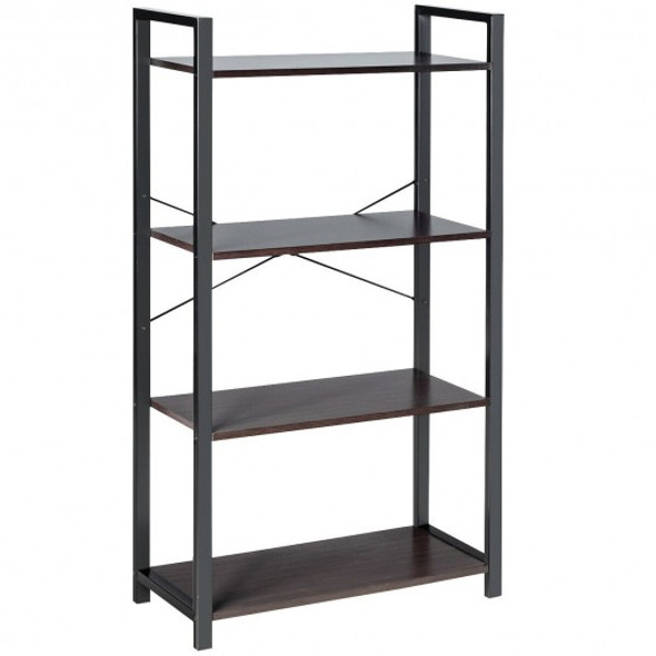 4-Tier Rustic Bookshelf Industrial Bookcase Diaplay Shelf Storage Rack -Black