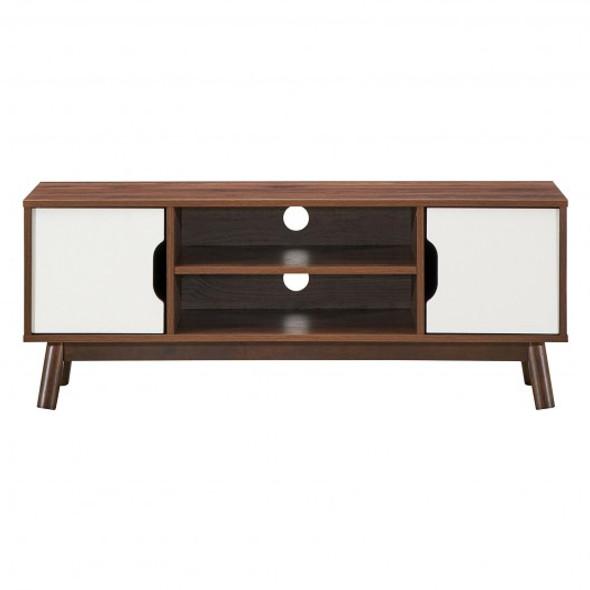 "50"" Wood Media TV Stand with Storage Shelf-White"