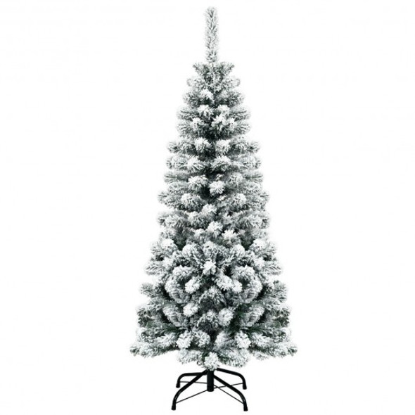 4.5 ft Unlit Hinged Snow Flocked Artificial Pencil Christmas Tree with 242 Branch
