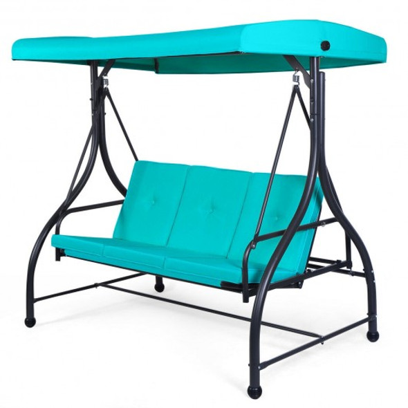 3 Seats Converting Outdoor Swing Canopy Hammock with Adjustable Tilt Canopy-Turquoise