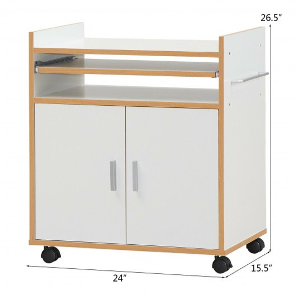 Rolling Kitchen Trolley Microwave Cart Storage Cabinet w/ Removable Shelf