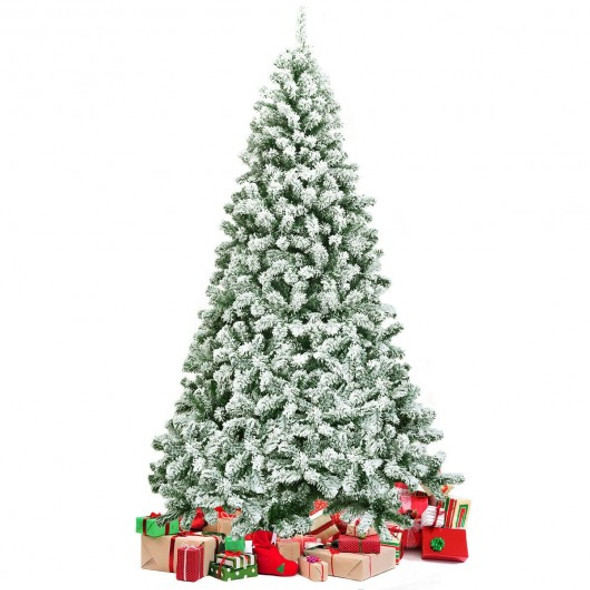 7.5 ft Snow Flocked Artificial Christmas Tree Hinged with 1346 Tip and Foldable Base