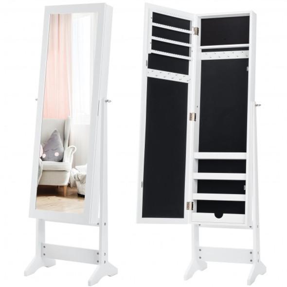 Mirrored Standing Jewelry Cabinet Storage Box-White - COHW66419WH
