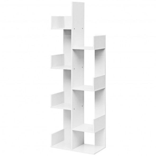 8-Tier Bookshelf Bookcase with 8 Open Compartments Space-Saving Storage Rack -White