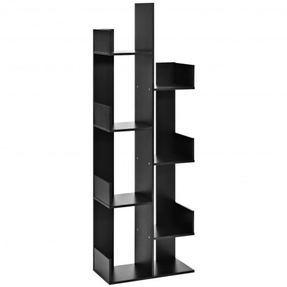 8-Tier Bookshelf Bookcase with 8 Open Compartments Space-Saving Storage Rack -Black