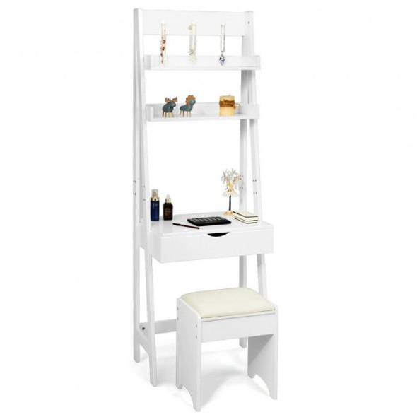 Makeup Dressing Table Shelf Vanity Set with Flip Top Mirror - COHW66074