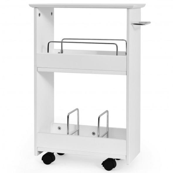 Slim Rolling 3-Tier Bathroom  Mobile Shelving Cabinet wih Handle