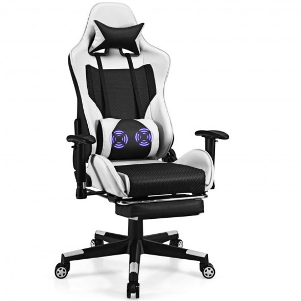 PU Leather Gaming Chair with USB Massage Lumbar Pillow and Footrest-White