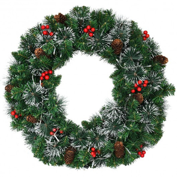 "24"" Pre-lit Christmas Spruce Wreath with 8 Flash Modes"