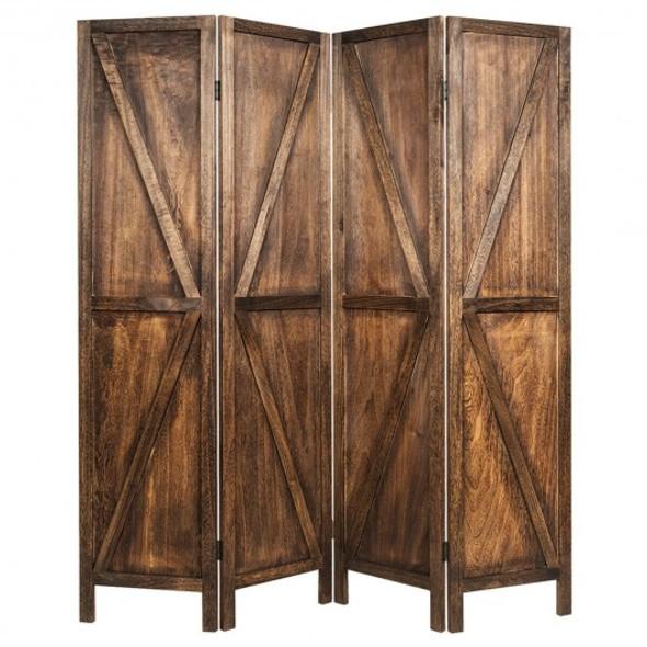 4 Panels Folding Wooden Room Divider-Brown