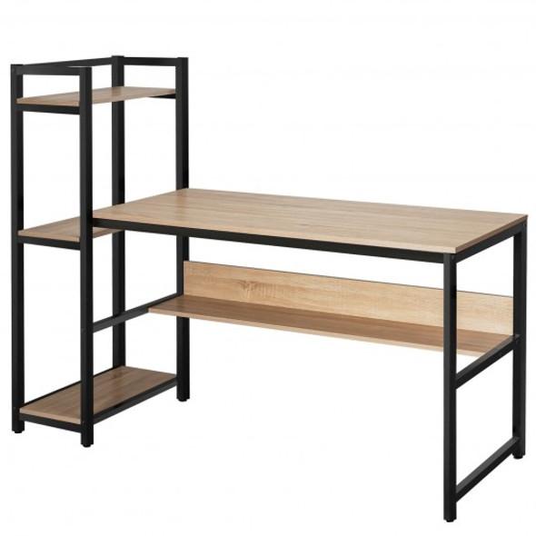 """59"""" Computer Desk Home Office Workstation 4-Tier Storage Shelves-Natural"""