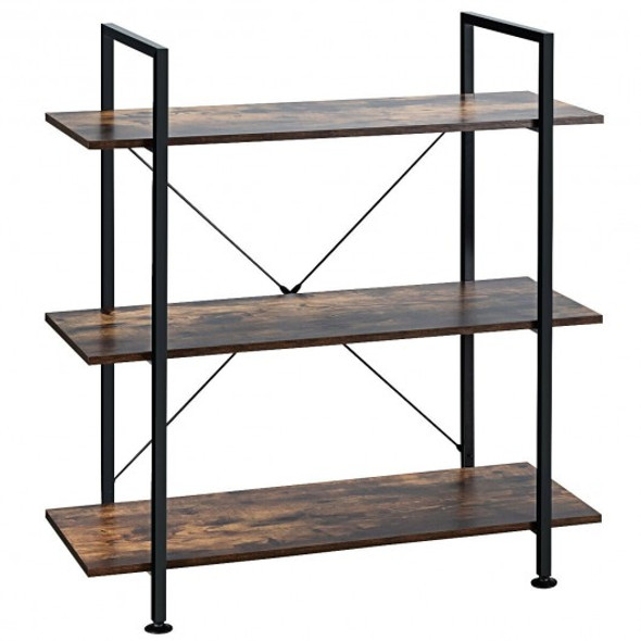 3-Tier Bookshelf Industrial Bookcase Display Shelf Storage Rack-Brown