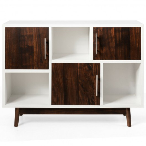 Wood Display Storage Cabinet Console Table TV Stand Multipurpose with Door and Shelf