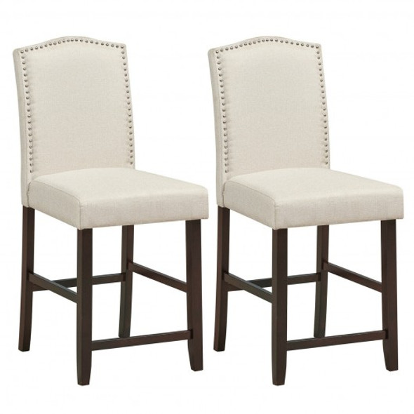 2 Pcs Fabric Nail Head Counter Height Dining Side Chairs Set-Beige