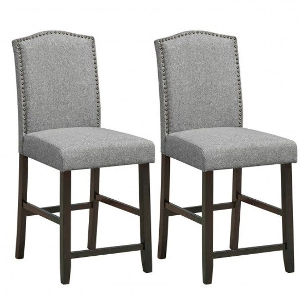 2 Pcs Fabric Nail Head Counter Height Dining Side Chairs Set-Gray