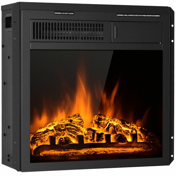 "18"" Electric Fireplace Insert Freestanding and Recessed Heater Log Flame Remote"