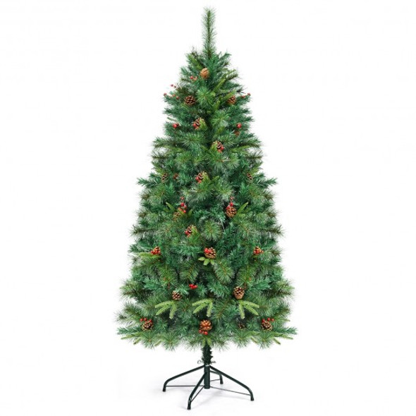 7 ft Pre-lit Artificial Hinged Christmas Tree with LED Lights-7'