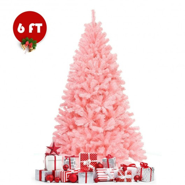 6 ft Pink Artificial Hinged Spruce Full Christmas Tree with Foldable Metal Stand