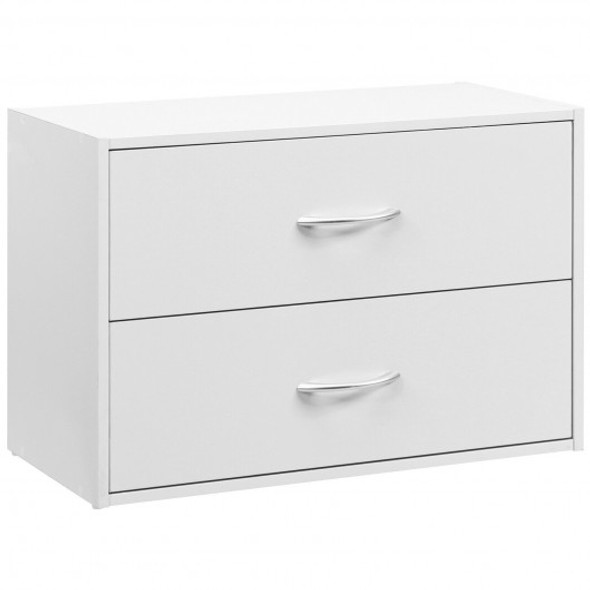2-Drawer Stackable Horizontal Storage Cabinet Dresser Chest with Handles-White