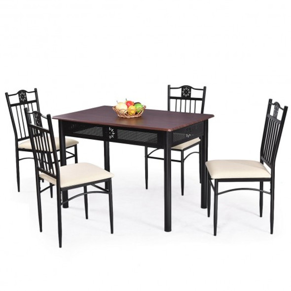 5 pcs Dining Set Wood Metal Table and 4 Chairs with Cushions - COHW66276