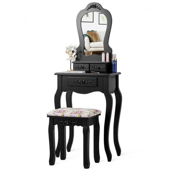 Makeup Dressing Table and Bench 3 Drawers and Cushioned Stool for Girls-Black