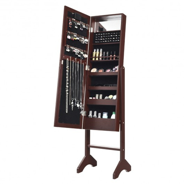 Mirrored Jewelry Cabinet Armoire Organizer w/ LED lights-Brown - COHW66092CF