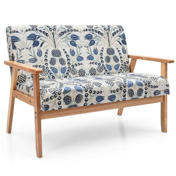 Modern Fabric Loveseat Sofa Couch Upholstered 2-Seat Armchair-Dark Blue