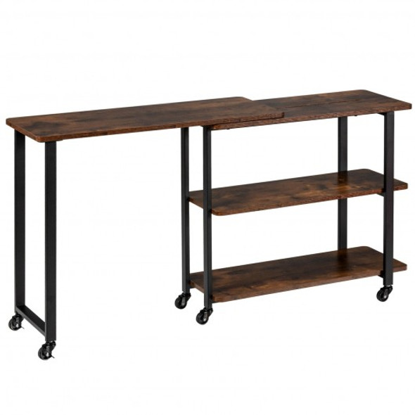 360 Rotating Sofa Side Table with Storage Shelves and Wheels-Rustic Brown