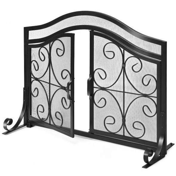 Fireplace Screen with Hinged Magnetic Two-doors Flat Guard