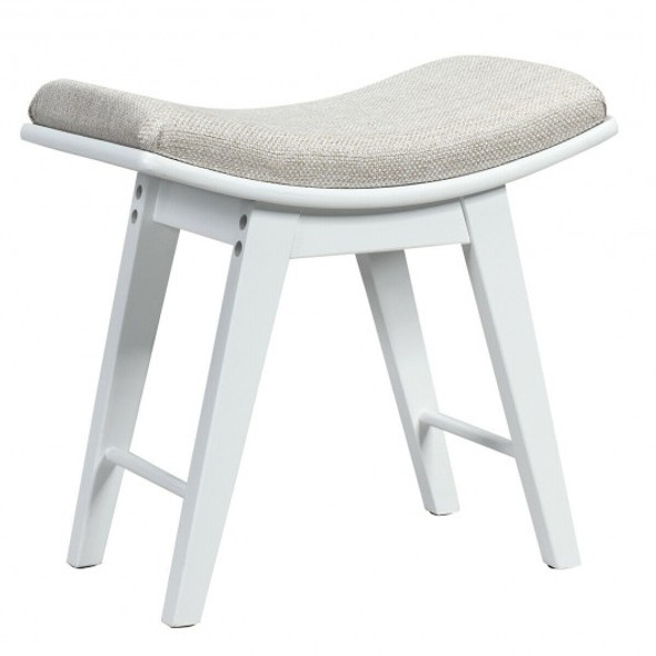 Modern Dressing Makeup Stool with Concave Seat Rubberwood Legs-White