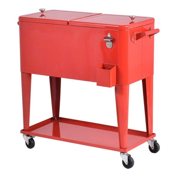 80 Quart Outdoor Patio Rolling Steel Construction Cooler