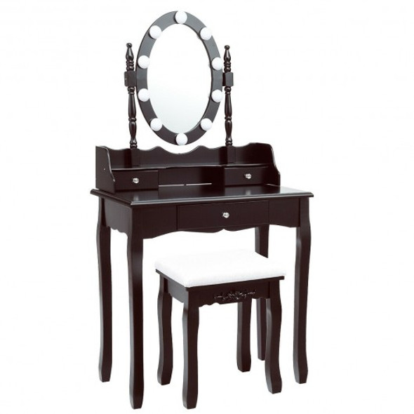 Oval Mirror Vanity Set  with 10 LED Dimmable Bulbs and 3 Drawers-Brown - COHW66052US-CF