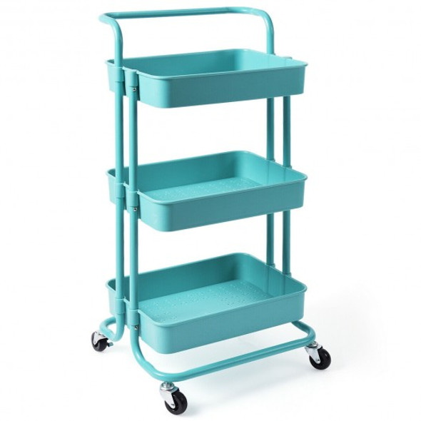 3-Tier Utility Cart Storage Rolling Cart with Casters-Blue